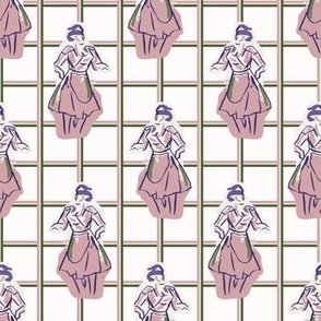 1950s housewife fashion outfit seamless vector pattern.