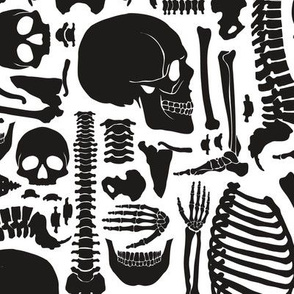 Halloween Skeleton Pattern Black and White-01
