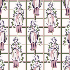 1950s ladies fashion outfit seamless vector pattern.