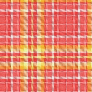 Fiery Plaid in Coral Pinks and Golds