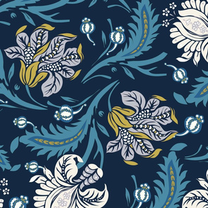Navy and Yellow Exotic Floral