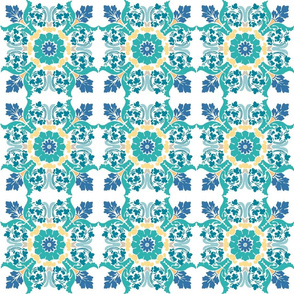 Blue and Yellow Medallion Tile