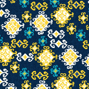 Navy and Yellow Decrative Diamonds