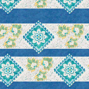 Blue and Yellow Decorative Stripe
