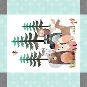 "42""x36"" Panel – Woodland Critters Blanket, Nursery Bedding, Bear Moose Wolf Raccoon Fox Pine Trees"