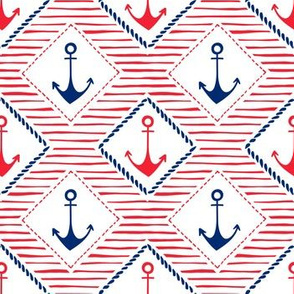 Hand-Drawn Anchors and Diamond Patches, Red, White and Blue Stripes