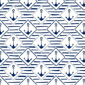 Hand-Drawn Anchors and Diamond Patches, White and Blue Stripes