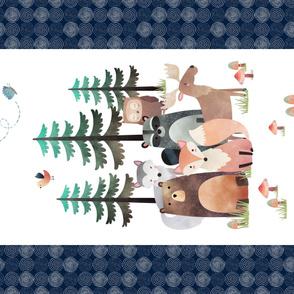 "54""x36"" Panel – Woodland Critters Blanket, Nursery Bedding, Bear Moose Wolf Raccoon Fox Pine Trees, Minky size"