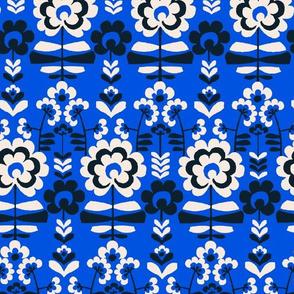 folk floral on bright blue