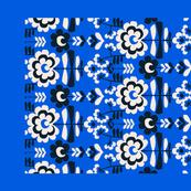 folk floral on bright blue tea towel