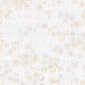 Cherry Blossom Sketch- Gold and Ivory