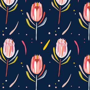 Protea abstract navy