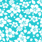 Hawaiian Flower Hisbiscus Pattern Red and White Tropical Lulau Teal and White