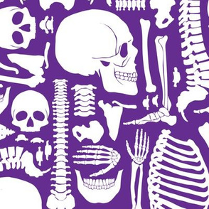 Halloween Skeleton Pattern Purple and White 01-01