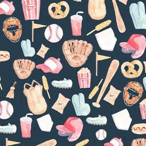 Watercolor Baseball Navy