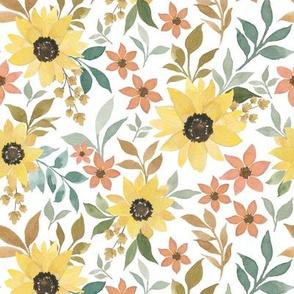 Fall Sunflowers white