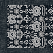 10-geo flat floral---on black-teatowel