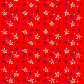 Red White and Blue Stars on Red Tiny / Patriotic Americana Fourth of July