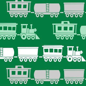 (large scale) trains - multi on green - modern train fabric - LAD19BS