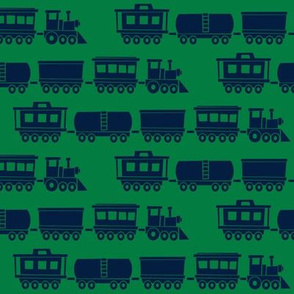 trains - navy on green - modern train fabric - LAD19