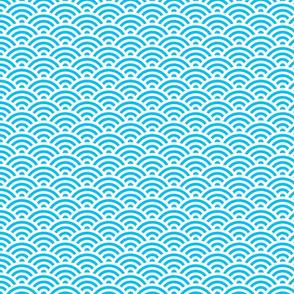 Seigaiha Wave Crest Aqua Large