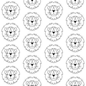 medium geometric lion faces black white
