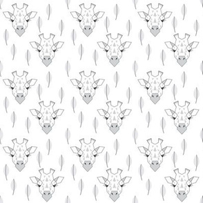 geometric giraffe faces with leaves grey white