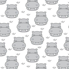 medium grey hippos with grass on white