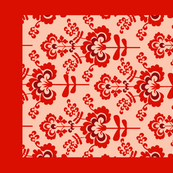 13-geo flat floral--red on cream-teatowel