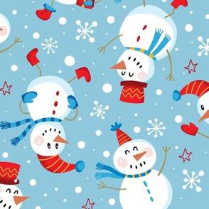 Festive Snowmen Scatter-Blue Lg