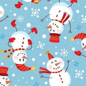 Festive Snowmen Scatter-Blue Red Lg