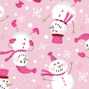 Festive Snowmen Scatter-Pink Lg