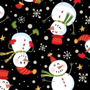 Festive Snowmen Scatter-Black Lg