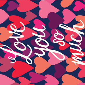 Love you so much hearts FQ tea towel in hot pink
