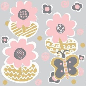 Night Blooms-Modern Floral / grey,pink,camel,white