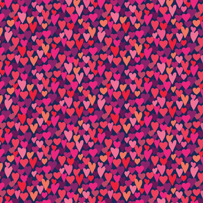 love hearts multi small scale in hot pink