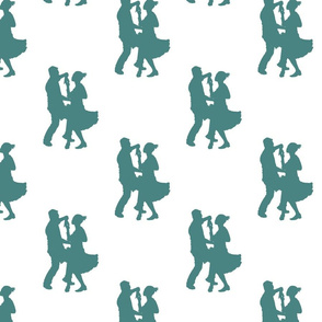 modern jive green silhouette dancers