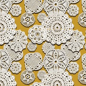 CROCHETED DOILIES (MUSTARD)