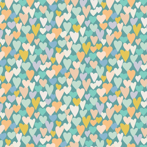 love hearts multi medium scale in teal