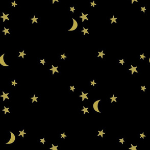 stars and moons // golden on black