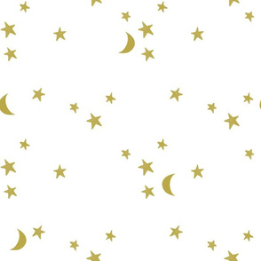 stars and moons // golden on white