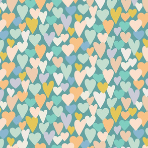 love hearts multi large scale in teal