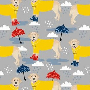 yellow lab rain fabric - umbrella fabric, rain boots fabric, rain fabric, yellow labrador fabric - grey