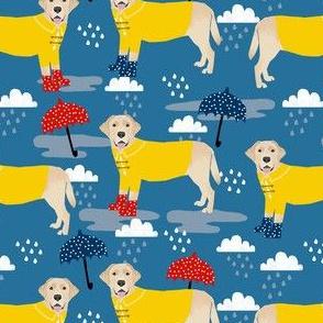 yellow lab rain fabric - umbrella fabric, rain boots fabric, rain fabric, yellow labrador fabric -  medium blue