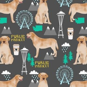 yellow lab seattle fabric - dog breed fabric, yellow labrador fabric, seattle fabric - charcoal