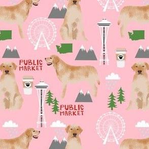 yellow lab seattle fabric - dog breed fabric, yellow labrador fabric, seattle fabric -pink