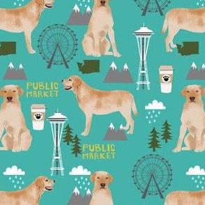 yellow lab seattle fabric - dog breed fabric, yellow labrador fabric, seattle fabric -teal