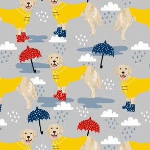 golden retriever dog rain fabric - umbrella, rain boots, wellingtons, wellies, dog, dogs, dog breed, april showers - grey