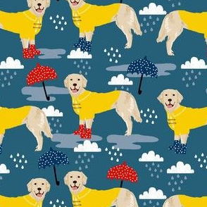golden retriever dog rain fabric - umbrella, rain boots, wellingtons, wellies, dog, dogs, dog breed, april showers - dark blue