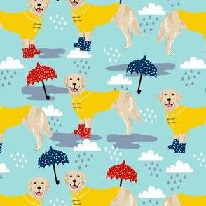 golden retriever dog rain fabric - umbrella, rain boots, wellingtons, wellies, dog, dogs, dog breed, april showers - light blue